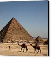 Camel Ride At The Pyramids Canvas Print