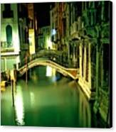 Canal And Bridge In Venice At Night Canvas Print