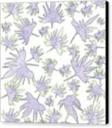 Canary Vine Leaves - Purple And Green Canvas Print