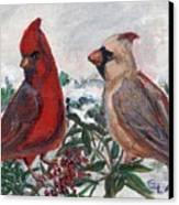 Cardinal Berries Canvas Print