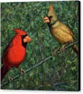 Cardinal Couple Canvas Print by James W Johnson