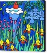 Cardinal In Birthbath Garden Canvas Print