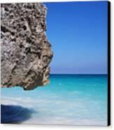 Caribbean Beach Rock Tulum Mexico Canvas Print