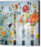 Carolina Wren And Roses Canvas Print