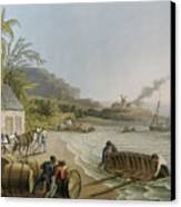 Carting And Putting Sugar Hogsheads On Board Canvas Print by William Clark
