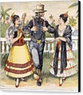 Cartoon: Uncle Sam, 1898 Canvas Print by Granger