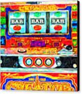 Casino Slot Machine . One Arm Bandit . Triple Bar Bonus Jack Pot Canvas Print by Wingsdomain Art and Photography