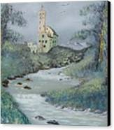Castle By Stream Canvas Print