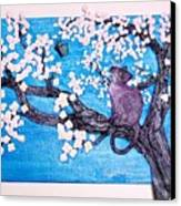 Cat Among The Cherry Blossoms Canvas Print by Sarah Swift