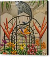 Cat Cheetah's Fence Canvas Print