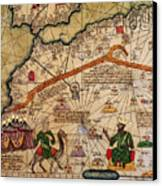 Catalan Map Of Europe And North Africa Charles V Of France In 1381  Canvas Print by Abraham Cresques