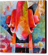 Cello Head In Blue And Red Canvas Print