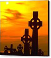 Celtic Crosses In Graveyard Canvas Print