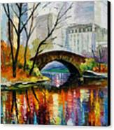 Central Park Canvas Print by Leonid Afremov