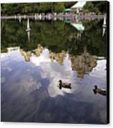 Central Park Pond With Two Ducks Canvas Print by Madeline Ellis