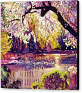 Central Park Spring Pond Canvas Print by David Lloyd Glover
