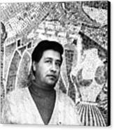 Cesar Chavez Stands In Front Of The Canvas Print by Everett