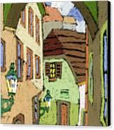 Cesky Krumlov Masna Street Canvas Print by Yuriy  Shevchuk
