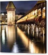 Chapel Bridge At Night In Lucerne Canvas Print by George Oze