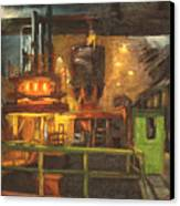 Charging The Arc Furnace Canvas Print by Martha Ressler