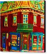 Charming Store  On The Corner Canvas Print