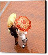 Chatting In The Rain - Umbrellas Series 1 Canvas Print