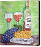 Cheese Wine And Grapes Canvas Print