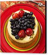 Cheesecake On Red Plate Canvas Print