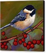 Cherries And Chickadee Canvas Print