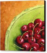 Cherries Green Plate Canvas Print