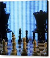 Chess Board With King And Queen Chess Pieces In Front Of Tv Scre Canvas Print