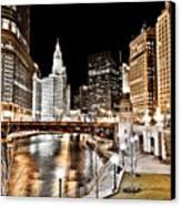 Chicago At Night At Wabash Avenue Bridge Canvas Print by Paul Velgos