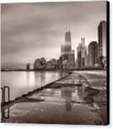Chicago Foggy Lakefront Bw Canvas Print by Steve Gadomski