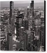 Chicago Loop Sundown B And W Canvas Print by Steve Gadomski