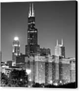 Chicago Night Skyline In Black And White Canvas Print by Paul Velgos