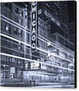 Chicago Theater Marquee B And W Canvas Print by Steve Gadomski