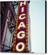 Chicago Theatre Marquee Sign Vintage Canvas Print
