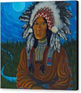 Chief Before Campfire Canvas Print