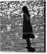 Child By Water Canvas Print