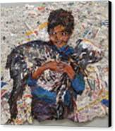Child With Goat On Handmade Paper Canvas Print