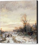 Children Playing In A Winter Landscape Canvas Print