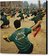 Children Practice Kung Fu In A Field Canvas Print