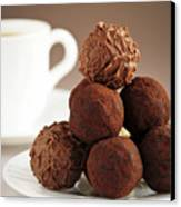 Chocolate Truffles And Coffee Canvas Print by Elena Elisseeva