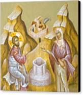 Christ And The Samaritan Woman Canvas Print by Julia Bridget Hayes