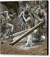 Christ Falls Beneath The Cross Canvas Print by Tissot