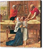 Christ In The House Of His Parents Canvas Print by JE Millais and Rebecca Solomon
