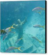 Christ Of The Deep Statue In A Coral Canvas Print