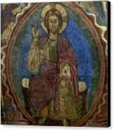 Christ Pantocrator Fresco. Basilica Saint-julien. Brioude. Haute Loire. Auvergne. France. Canvas Print by Bernard Jaubert