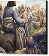 Christ Teaching Canvas Print by English School