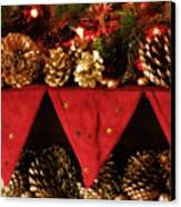 Christmas Decorations Of Garlands And Pine Cones Canvas Print
